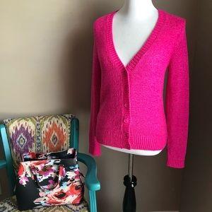 LOFT Neon Pink Knit Cardigan